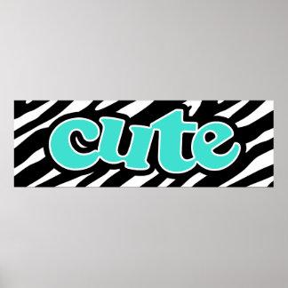 Turquoise; Blue Green CUTE; zebra stripes Poster