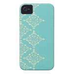 Turquoise Blue/Green damask dots pattern iphone 4 Case-Mate iPhone 4 Case