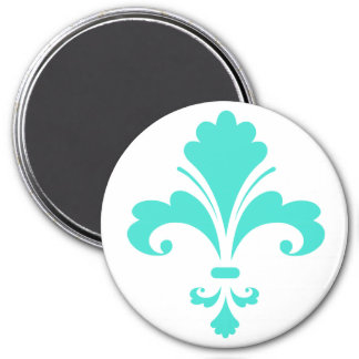 Turquoise, Blue-Green Fleur-de-lis 3 Inch Round Magnet