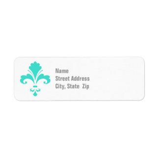 Turquoise Blue-Green Fleur-de-lis Custom Return Address Labels