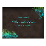 Turquoise Blue Green Floral Postcard Invitation