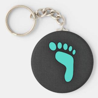 Turquoise, Blue-Green Footprint Basic Round Button Keychain