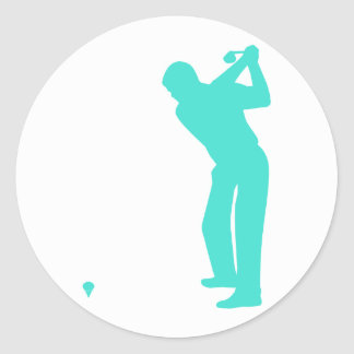 Turquoise; Blue Green Golf Classic Round Sticker