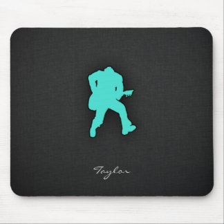 Turquoise; Blue Green Guitar Player Mouse Pad