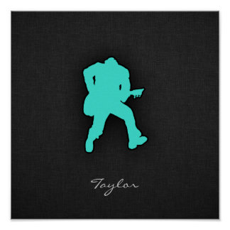 Turquoise; Blue Green Guitar Player Poster