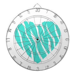 Turquoise, Blue-Green Heart Dartboard With Darts