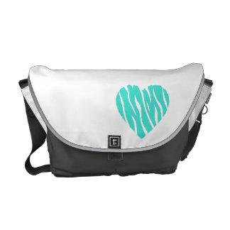 Turquoise, Blue-Green Heart Messenger Bag