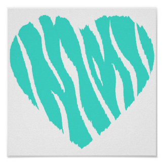 Turquoise, Blue-Green Heart Poster