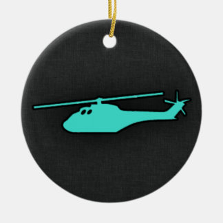 Turquoise; Blue Green Helicopter Double-Sided Ceramic Round Christmas Ornament