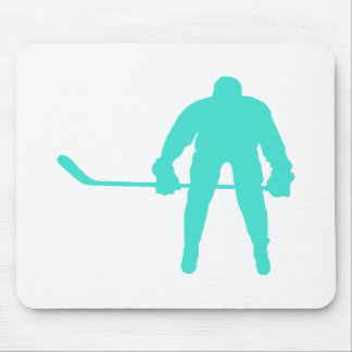 Turquoise; Blue Green Hockey Mouse Pad