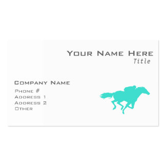 Turquoise; Blue Green Horse Racing Double-Sided Standard Business Cards (Pack Of 100)