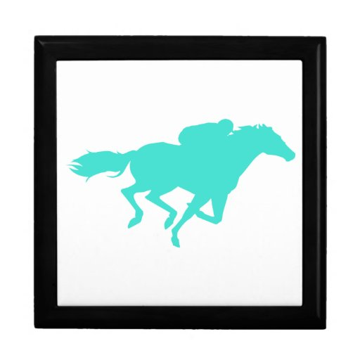 Turquoise; Blue Green Horse Racing Jewelry Box
