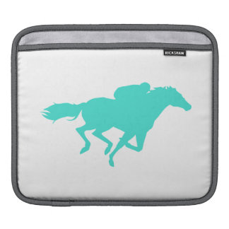 Turquoise; Blue Green Horse Racing Sleeve For iPads