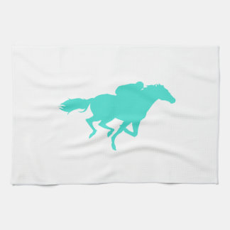 Turquoise; Blue Green Horse Racing Kitchen Towel