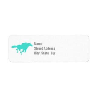 Turquoise; Blue Green Horse Racing Return Address Label