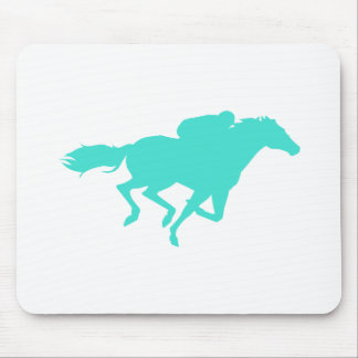 Turquoise; Blue Green Horse Racing Mouse Pad