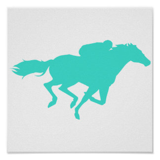 Turquoise; Blue Green Horse Racing Poster