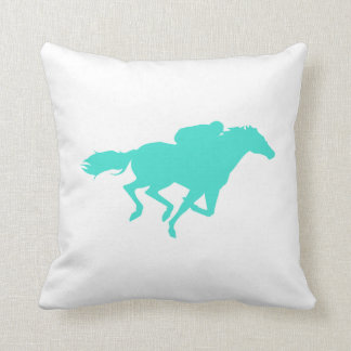 Turquoise; Blue Green Horse Racing Throw Pillow