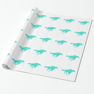 Turquoise; Blue Green Horse Racing Wrapping Paper