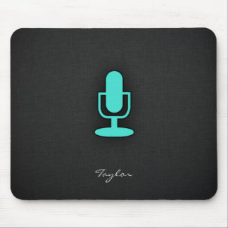 Turquoise, Blue-Green Microphone Mouse Pad