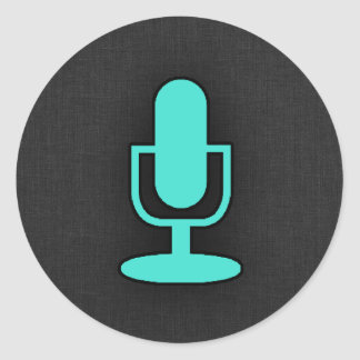 Turquoise, Blue-Green Microphone Round Sticker