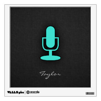 Turquoise, Blue-Green Microphone Wall Decal
