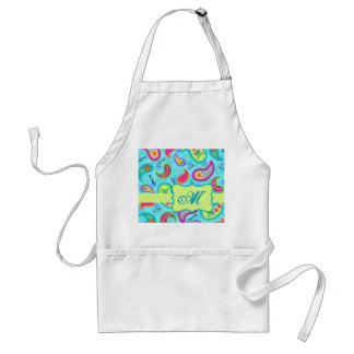 Turquoise Blue Green Modern Paisley Monogram Adult Apron