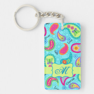 Turquoise Blue Green Modern Paisley Monogram Keychain