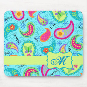 Turquoise Blue Green Modern Paisley Monogram Mouse Pad