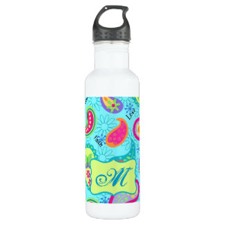 Turquoise Blue Green Modern Paisley Monogram Water Bottle