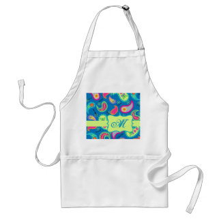 Turquoise Blue Green Modern Paisley Pattern Adult Apron