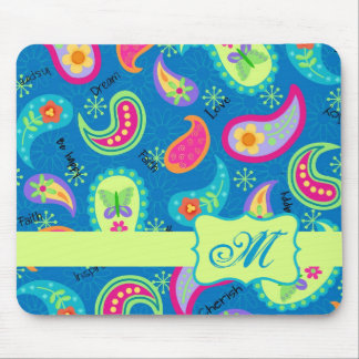 Turquoise Blue Green Modern Paisley Pattern Mouse Pad