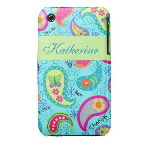 Turquoise Blue Green Modern Paisley Pattern Name iPhone 3 Cases
