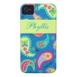 Turquoise Blue Green Modern Paisley Pattern Name Case-Mate iPhone 4 Case
