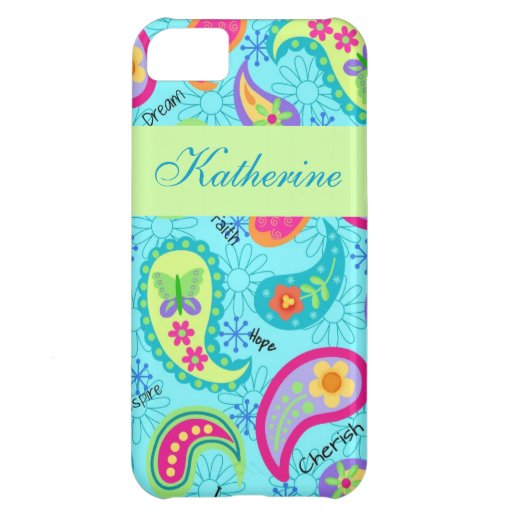 Turquoise Blue Green Modern Paisley Pattern Name iPhone 5C Cover