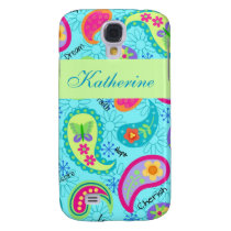 Turquoise Blue Green Modern Paisley Pattern Name Galaxy S4 Cover