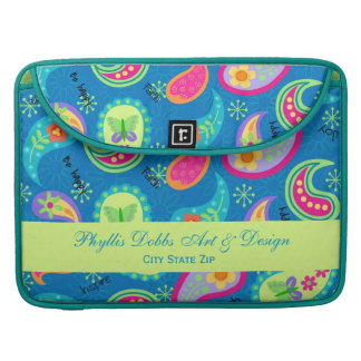 Turquoise Blue Green Modern Paisley Pattern Name MacBook Pro Sleeve
