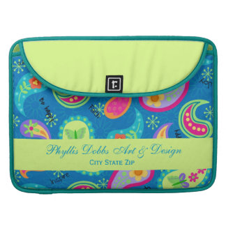 Turquoise Blue Green Modern Paisley Pattern Name Sleeve For MacBook Pro