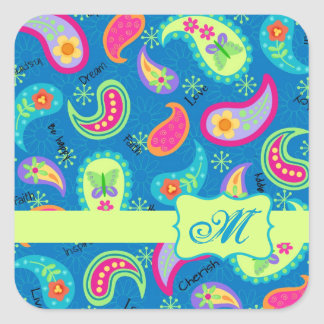 Turquoise Blue Green Modern Paisley Pattern Square Sticker