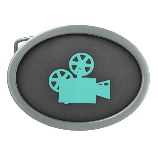 Turquoise; Blue Green Movie Camera Oval Belt Buckle