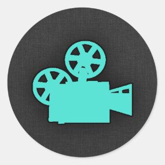 Turquoise; Blue Green Movie Camera Classic Round Sticker