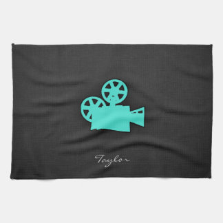 Turquoise; Blue Green Movie Camera Hand Towel