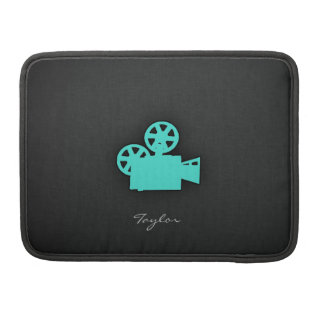 Turquoise; Blue Green Movie Camera Sleeve For MacBooks
