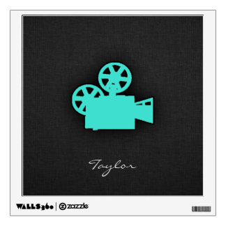 Turquoise; Blue Green Movie Camera Wall Sticker
