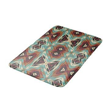 Aztec Themed Turquoise Blue Green Orange Tribal Mosaic Pattern Bathroom Mat