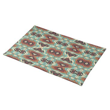 Turquoise Blue Green Orange Tribal Mosaic Pattern Cloth Placemat