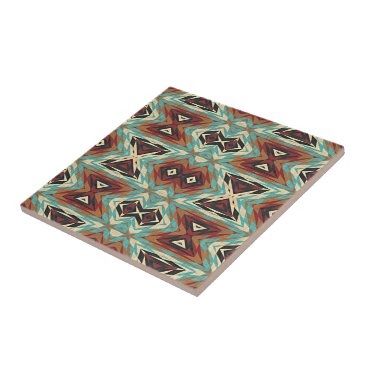 Aztec Themed Turquoise Blue Green Orange Tribal Mosaic Pattern Tile