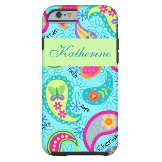 Turquoise Blue Green Paisley Personalized Name Tough iPhone 6 Case