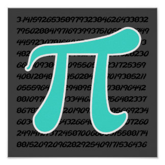Turquoise Blue-Green Pi Symbol Poster