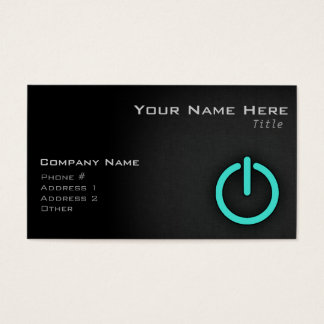 Turquoise, Blue-Green Power Button Business Card
